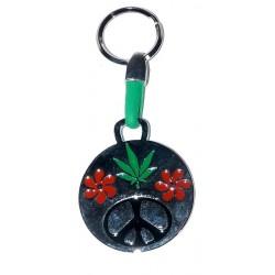 Porte clés Amour Paix en fleurs
