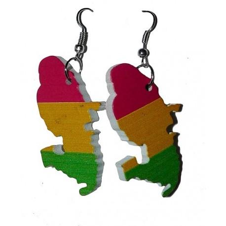 Boucles d'oreilles Rasta Martinique