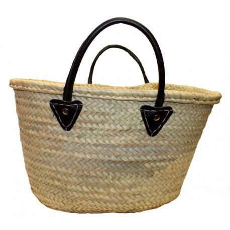 Panier artisanal en feuille de palmier tressée et simili cuir
