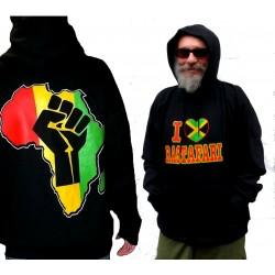 Sweatshirt noir capuche Rastafari