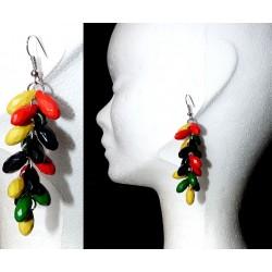 Boucles d' oreille rouge jaune vert