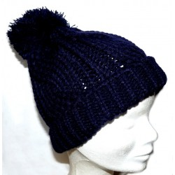 Bonnet pompon bleu nuit