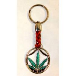 Porte-clés feuille de chanvre verte