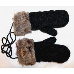 Moufles gants noir fourrure synthétique
