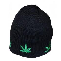 Bonnet noir feuilles