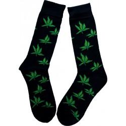 Chaussettes Rasta noires feuilles 39-43