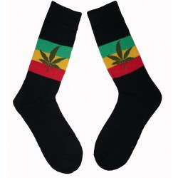 Chaussettes couleurs Rasta feuille