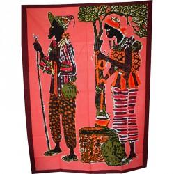 Tenture couple Dogon fond orangé