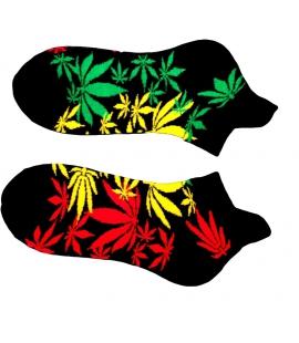 Socquettes feuilles couleurs Rasta