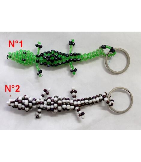 Porte-clés crocodile en perles et métal