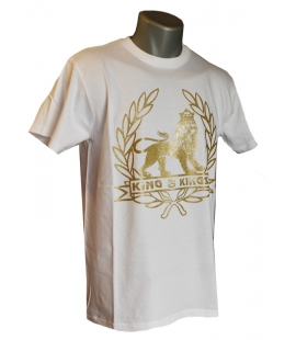 T-shirt blanc Lion or
