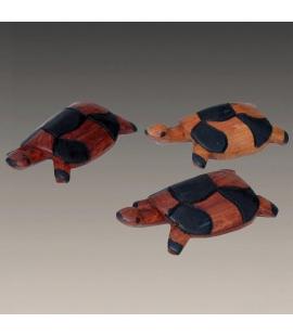 Famille de 3 tortues en bois