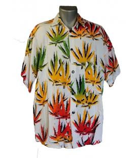 Chemise Rasta blanche avec feuilles