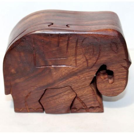 Boîte secrète éléphant puzzle en bois