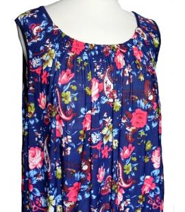 Robe tunique bleue fleurs