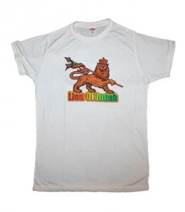 T-shirt rasta blanc Lion Juda