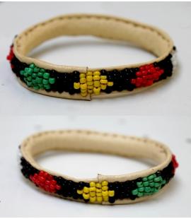 Bracelet cuir perles Mali