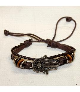 Bracelet en cuir et metal Main de Fatma tafust