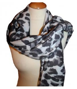 Echarpe imprime leopard noir gris