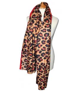 Echarpe imprime leopard rouge 2