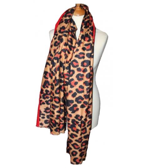 Echarpe imprimé léopard rouge orange, large et au toucher très doux 7db5733c31a