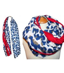Grand foulard imprime leopard bleu