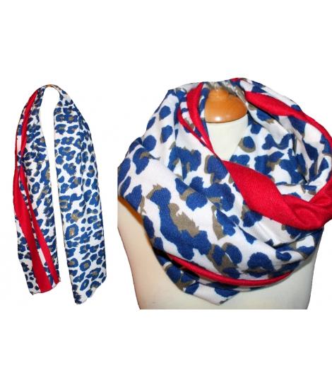 Grand foulard imprimé léopard bleu, large et doux 7693241d6d7