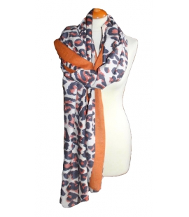 Grand foulard imprime leopard ocre