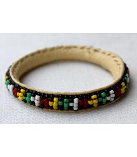 Petit bracelet africain cuir et perles Mali