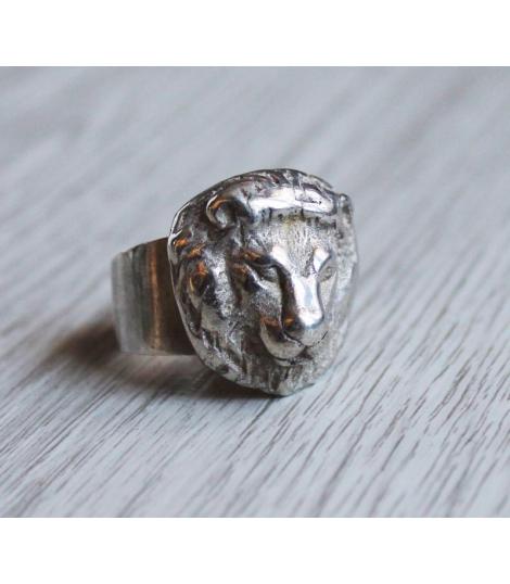 Bague ajustable argent 925 Lion
