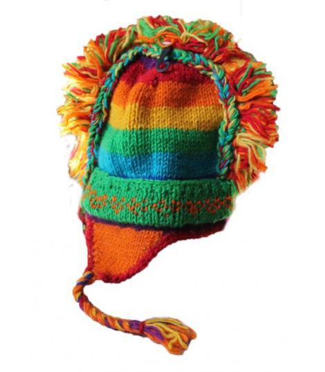 Bonnet Nepal orange pure laine