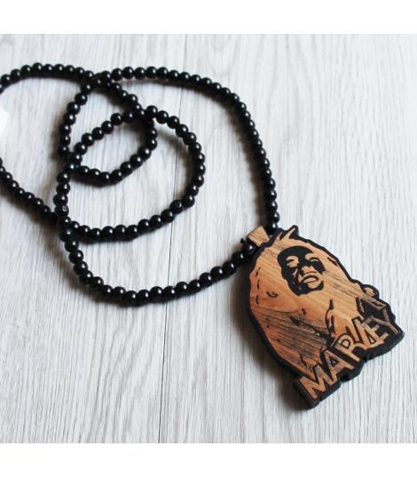 Collier bois pendentif Bob Marley
