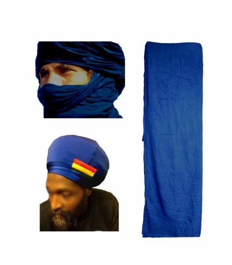 Authentique turban Touareg bleu