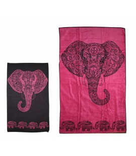 Grande serviette bain ou plage elephants