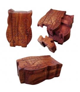 Boîte puzzle en bois Hibou