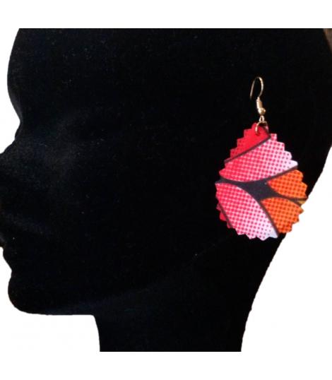 Boucles d oreilles rouges tissu africain