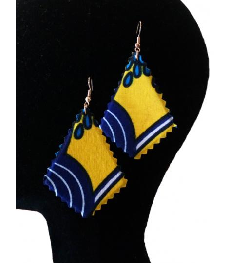 Boucles d oreilles tissu africain bleu jaune