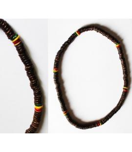 Collier Rasta perles bois plates
