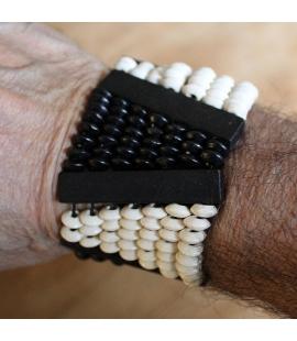 Bracelet noir et blanc perles de bois