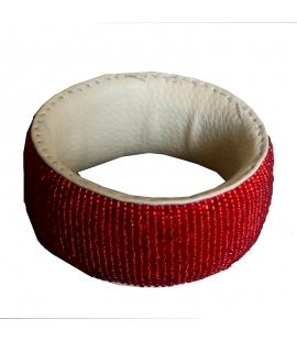 Large bracelet cuir perles Mali