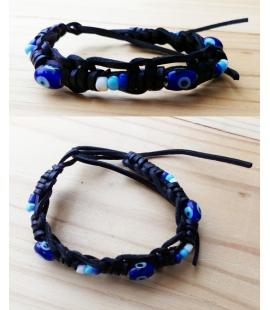 Bracelet cuir et perles œil bleu protecteur