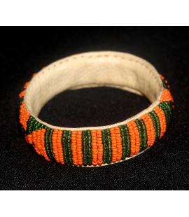 Bracelet artisanal cuir et perles Mali