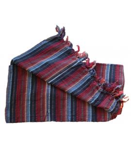 Foulard coton rayures bleu rouge