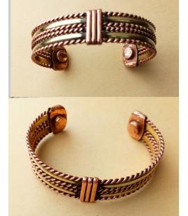 Bracelet tresse cuivre deux aimants