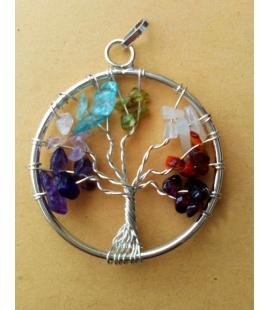Pendentif arbre de vie et pierres naturelles