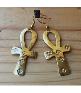 Boucles d oreilles Mali Croix Ankh bronze