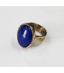 Bague Touareg argent et onyx bleu