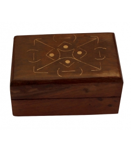 Petite boite en bois incrustee laiton