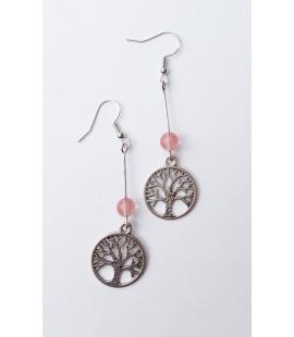 Boucles d oreilles Arbre de Vie et perle rose
