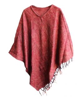 Poncho Nepal pure laine rouille